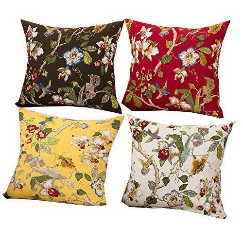 """La Sra. Casa 4piezas Home manta decorativa Funda de almohada sofá almohada cojín funda algodón 18""""x 18"""""""