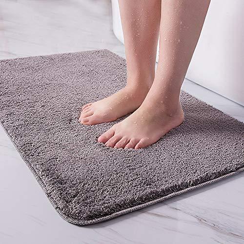 Tappeto da bagno assorbente tappeti bagno antiscivolo tappeto bagno moderno tappeti da bagno - lavabile in lavatrice - shaggy - morbido, gris, 80 x 120 cm