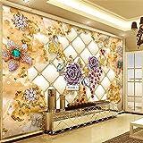LHDLily 3D Hintergrundbild Tapete Fresken Wandaufkleber Verdickung High-End-Luxus Gold Diamond Flower Papier Tv Vertrag Große Tapeten Home Decor 350Cmx250Cm