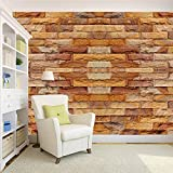 100yellow 3D Brick Texture Print Peel and Stick Self Adhesive Decal Wallpaper - 5.5 Sqft