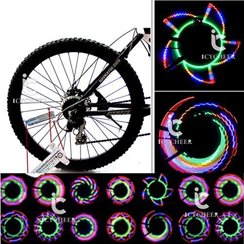icycheer Fahrrad Rad Licht 16bunt Speichen LED Licht Wasserdicht Colorful Bike Rad Licht Colorful Fahrrad Reifen zubehör