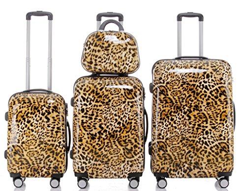 BEIBYE BEIBYE Reisekoffer Hartschalen Hardcase Trolley Zahlenschloss Polycarbonat SET--XL-L--M-- Beutycase (Leopard, 4er Set(XL+L+M+S))