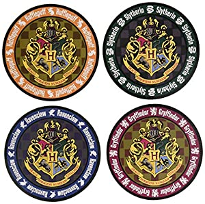 Monogram Harry Potter Hogwarts Crest Round Colored Coaster 4-Pack Set 4 Posavasos, Corcho, Multicolor, Talla única