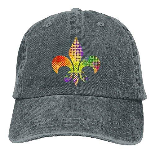 fboylovefor Fleur De Lis Mardi Gras Adult Sport Adjustable Baseball Cap Cowboy Hat Fleur Rim