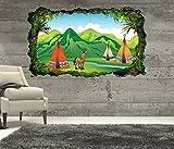 3D Wandtattoo Indianer Pferd Zelt Savanna Prärie Kinderzimmer cartoon Tapete Wand Aufkleber Wanddurchbruch sticker selbstklebend Wandbild Wandsticker Wohnzimmer 11P676, Wandbild Größe F:ca. 140cmx82cm