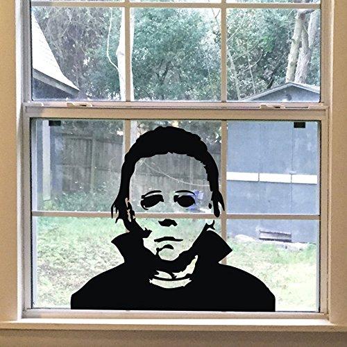 FlyWallD Halloween-Aufkleber Michael Myers Horror Wohnzimmer-Aufkleber Lustiger Tür-/Fensterspiegel, Vinyl-Dekoration L-24''WX22 H