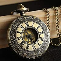 VAWAA Vintage Steampunk Retro Bronze Pocket Watch Quartz Pendant Necklace Chain Gifts Vintage Jewelry Accessories