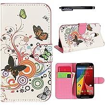 Hunye PU Cuero Carcasa Funda para Motorola Moto G 2. Generation (2014) Flip Case con Soporte Tapa Mariposas de Colores Cover con Stylus Pen