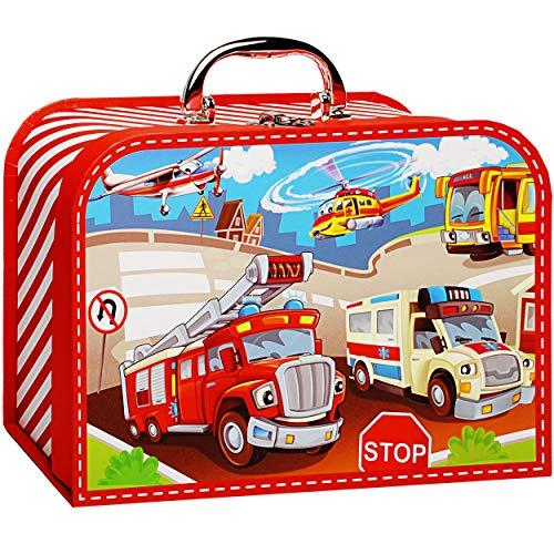 alles-meine.de GmbH Koffer / Kinderkoffer - GROß - Auto & Feuerwehr - 26 cm - Pappkoffer - Puppenkoffer - Kinder - Pappe Karton - Fahrzeuge Verkehr Autos Krankenwagen Rettungsfah..