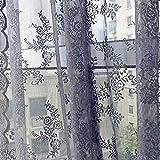 Vorhänge mit Spitze, Türkei, 1PC, transparent, Vorhänge Tüll-Behandlung, die Voile Vorhang Volant für Wohnzimmer Schlafzimmer-Dekoration-Stoff-Vorhang, für Mädchen, 180x 145cm grau