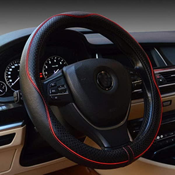 1 Pc 37~38CM Carbon Fiber Leather Car Steering Wheel Cover Non-slip Black /&Red