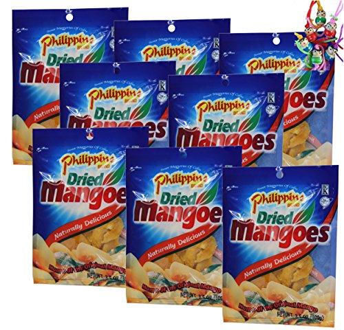 Preisvergleich Produktbild 8er Pack PHILIPPINE getrocknete Mangos [8x 100g] Mango-Streifen + ein kleines Glückspüppchen - Holzpüppchen