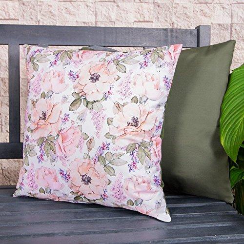 Gartenkissen Sitzpolster – 43cm x 43cm – Wasserabweisend mit einer Textilfaserfüllung – Dekoratives Zierkissen für Gartenbänke, Stühle oder Sofas (1, Wildrose Blumenmuster)
