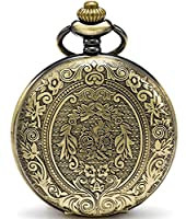 SEWOR Classical Flower Quartz Pocket Watch Shell Dial Bronze Case With Two Type Chain(Leather+Metal)
