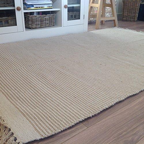 Second Nature Natürliche Baumwolle & Jute beige Cream Light Streifen Teppich 120cm x 180cm - Natürliche Beige-teppich