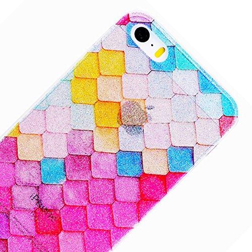 WE LOVE CASE iPhone 5S / 5 / SE Hülle Glitzern Transparent Durchsichtig Schwarz Gelb iPhone 5S / 5 / SE Hülle Silikon Weich Streifen Handyhülle Tasche für Mädchen Elegant Backcover , Soft TPU Flexibel Diamond