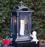 Lanterna funebre in ceramica bianca, 30,0 cm, con croce applicata sul vetro, decorazione commemorativa