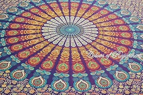 COR Mehrfarbige Mandala Tapestry Indian Wandbehang, Bettlaken, Coverlet Picknick-Strand-Blatt, Superior Qualität Hippie Wandteppiche oder Bedspread in Organic Cotton Tree of Life 90 x 85 Zoll