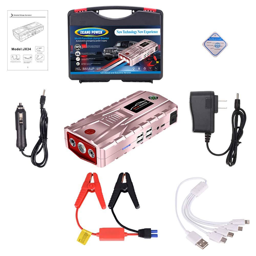 YDYJZN Arrancador De Coche Booster 800A 21000Mah Arrancador Batería Diesel Portátil Jump Starter Profesional Arranque…
