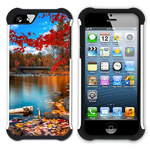 Graphic4You Herbst Leaves Bäume Postkarte Hart + Weiche Kratzfeste Hülle Case Schale Tasche Schutzhülle für Apple iPhone SE / 5 / 5S Design #9