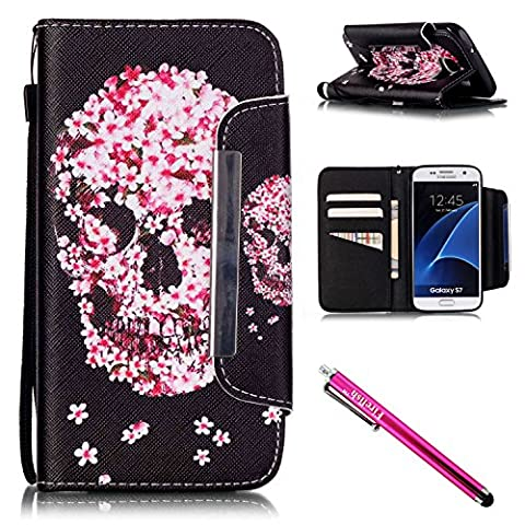 Galaxy S7 Case, Firefish Kickstand Flip [Card Slots] Wallet Cover Double Layer Bumper Shell with Magnetic Closure Strap Case for Samsung Galaxy S7-Skull