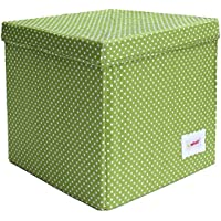 Minene Storage Cube - Green with spots star storage baskets, square storage box, large fabric storage box - great for toy storage, kids storage preiswert