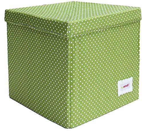 Minene 1553 - Cubo de almacenamiento, diseño de lunares, color verde y blanco