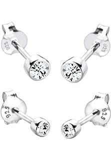 Yumilok 4 Paare Basic 925 Sterling Silber Zirkonia Perlen