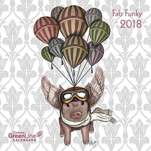Preisvergleich Produktbild Fab Funky 2018 - GreenLine Kalender, liebevoll illustrierter Broschürenkalender, Illustrationen - 30 x 30 cm