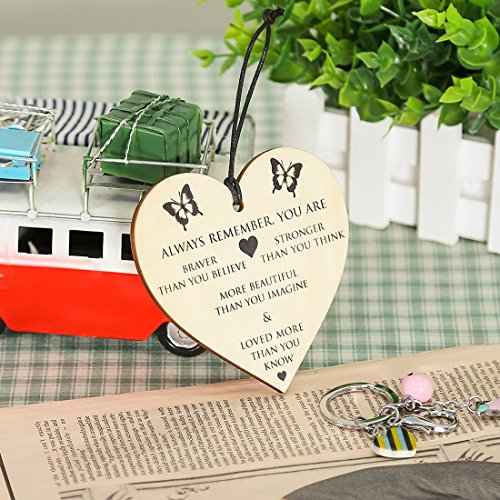 Gifts for Women,Friendship Gift for Her You Are Braver Stronger Smarter & Beautiful Wooden Hanging Heart Best Friends Plaque Birthday Gifts for Female Friend