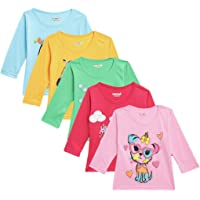 Kuchipoo Girls' Cotton T-Shirt (Multi-Colored, Pack of 5)