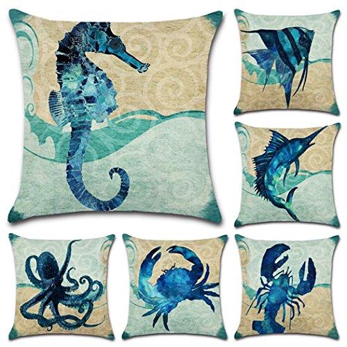 Confezione da 6cotone lino stile mediterraneo throw pillow case, ocean theme decorativo quadrato cuscino 45,7x 45,7cm (cover solo, senza inserto) sea theme 4