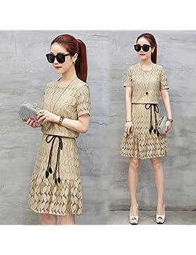 Verano de manga corta de encaje Vestidos Faldas de moda de alta costura de Corea,L,caqui