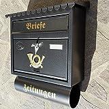 Großer Briefkasten / Postkasten XXL Anthrazit mit Zeitungsrolle Flachdach Katalogeinwurf Zeitungsfach