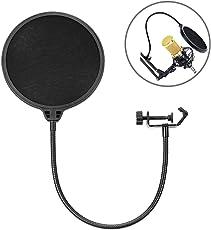 Eastshining Mikrofon Popschutz Absorber Filter Mic Schirm Runde Form Wind pop Filter mit Stand Clip, 6 Zoll schwarz