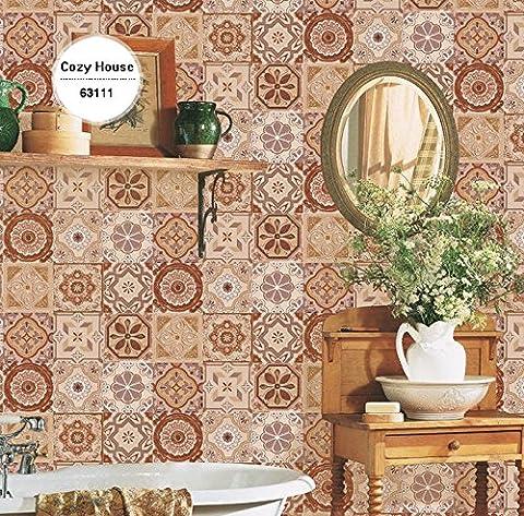 Retro Brick Vinyl-Tapeten für Küche Geometrische Wandverkleidungen Wand-Papiere Home Decor Wohnzimmer Feuchtigkeits-Beweis-Murals Rolls ( Farbe : 63113 )