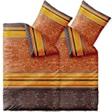 CelinaTex Bettwäsche 4tlg 155x220 Baumwolle Set Kopfkissen Bettbezug Reißverschluss atmungsaktiv Bett Garnitur 80x80 Kissen Bezug 0003738 Fashion Natalie grau beige braun