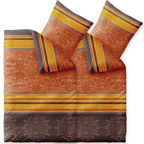Bettwäsche 4tlg 155x220 Baumwolle Set Kopfkissen Bettbezug Reißverschluss atmungsaktiv Bett Garnitur 80x80 Kissen Bezug CelinaTex 0003738 Fashion Natalie grau beige braun