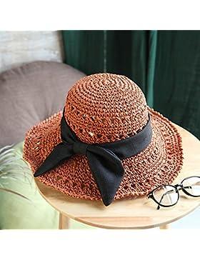 LVLIDAN Sombrero para el sol del verano Lady Anti-sol Gran cara ancha playa sombrero de paja plegable rojo