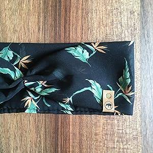 Stirnband Turban Floral // schwarz