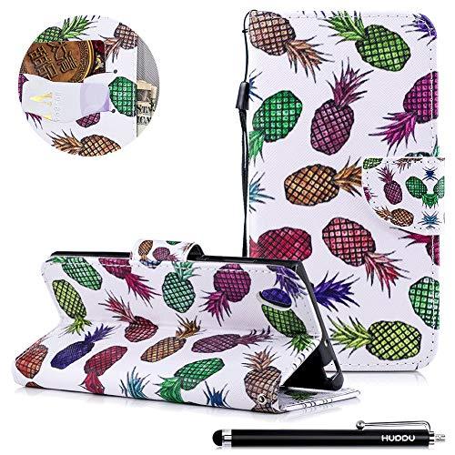 HUDDU Compatible for Ananas Handyhülle Sony Xperia L1 Hülle Flip Wallet Case Ledertasche Kartenfach Magnet Stand Schutz Lederhülle Etui Handy Cover Schutzhülle Tasche Leder Klapphülle Bunt Muster
