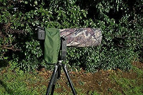 Réversible Double Couche Objectif/Housse imperméable pour appareil photo Nikon 200–500motorisé F5,6E ED VR AF-S True bois HTC–Vert Olive Envers
