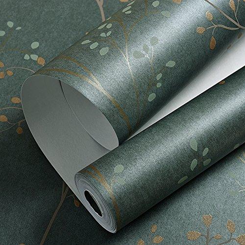 loaest American Style Tapete, Schlafzimmer, Wohnzimmer, TV Hintergrund, Retro Garten Zweige, Blätter, Grün, (Glitter Orange Zweige)