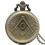 Masón Masónico efecto bronce Retro/Vintage caso hombres de cuarzo reloj de bolsillo collar–en 32pulgadas/80cm cadena