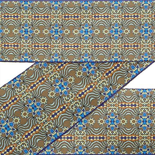 IBA Indianbeautifulart Braun Blumen & Paisley ethnisch Stoff Spitze Schneiderei Samtband gedruckt Nähen Spitze 9 Yard 3 Zoll -