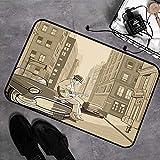 Tapis de bain Tapisde douche en microfibre,Musique jazz, Illustration d'un guitariste dans une vieille rue de New York Bu,Tapis de cuisine Antidérapant Tapis de salle de bain Tapis de sol 45cmx75 cm