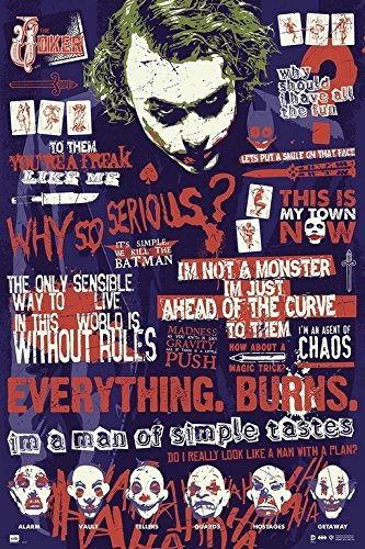 Grupo Erik Editores GPE4937 - Poster motivo: Batman The Dark Knight Joker Quitographic, 61 x 91,5 cm