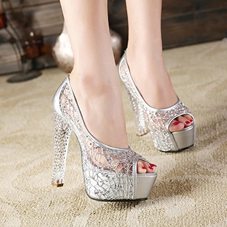 CXY Sandalias de Verano Femeninas con Tacones Altos de Cristal Pescado Bozal Hilado Neto Zapatos de Señoras,Plata,36