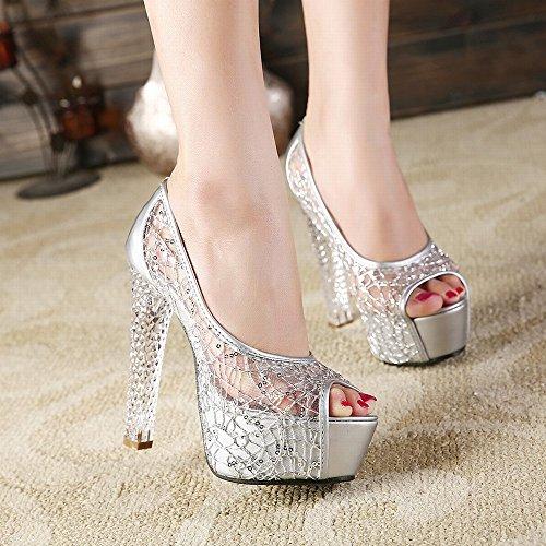 Sandalen mit Kristall High Heels Fisch Mund Hohlen Damen Damenschuhe,Silber-,39 ()