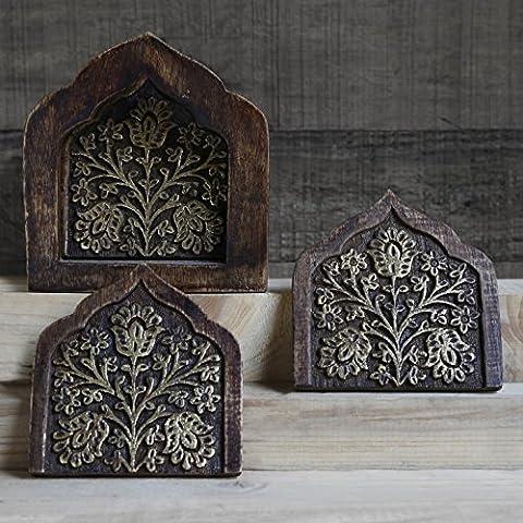 Store Indya Set of 6 Wooden Floral Design Drink Coasters